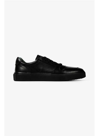 Krähe Cuervo Siyah Deri Minimal Sneaker Siyah